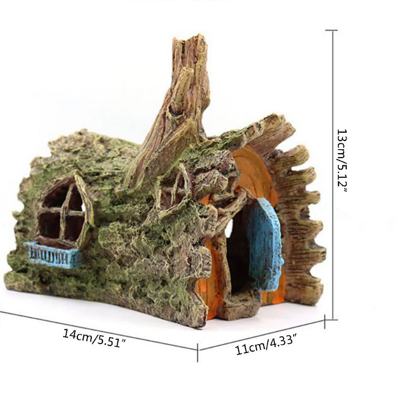 Resin Log House Tank Ornament